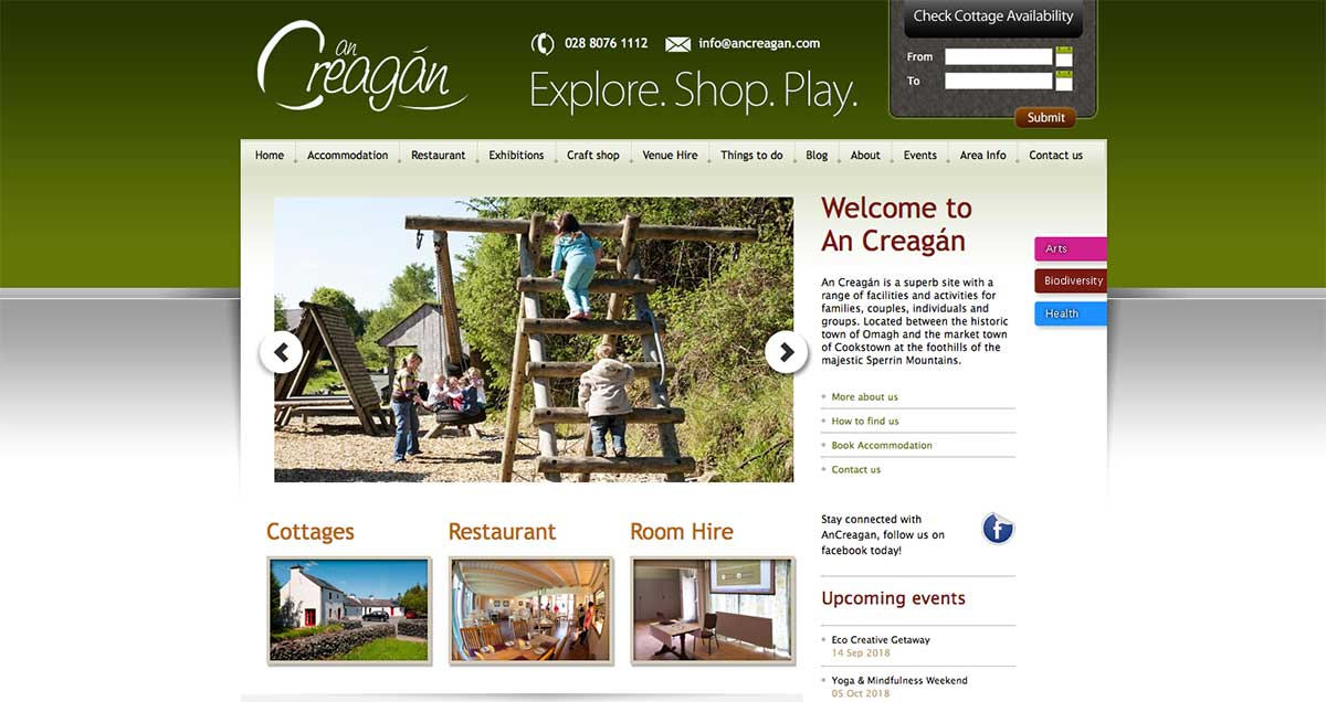 Screenshot of the An Creagan wedding venue Creggan, Omagh website