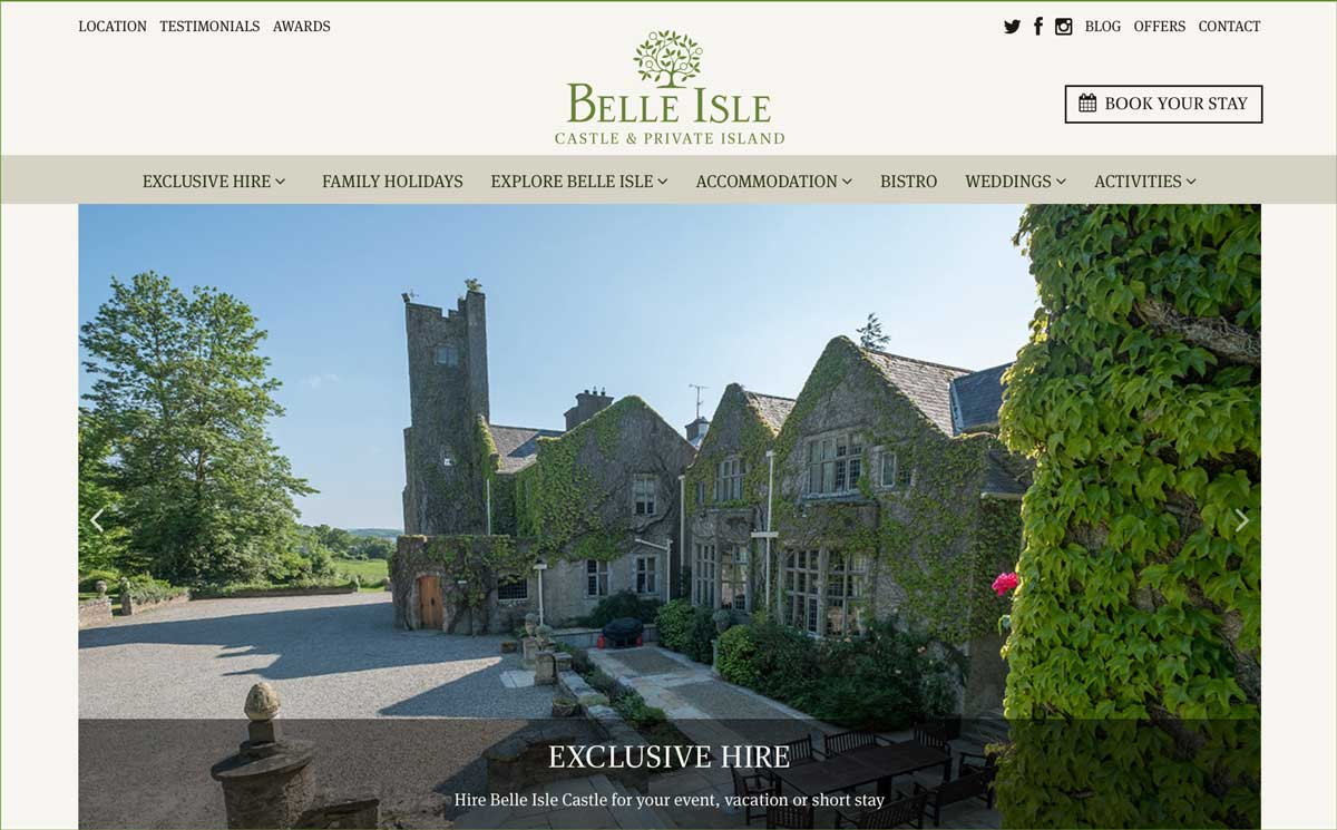 Screenshot of the Belle Isle Castle Fermanagh website