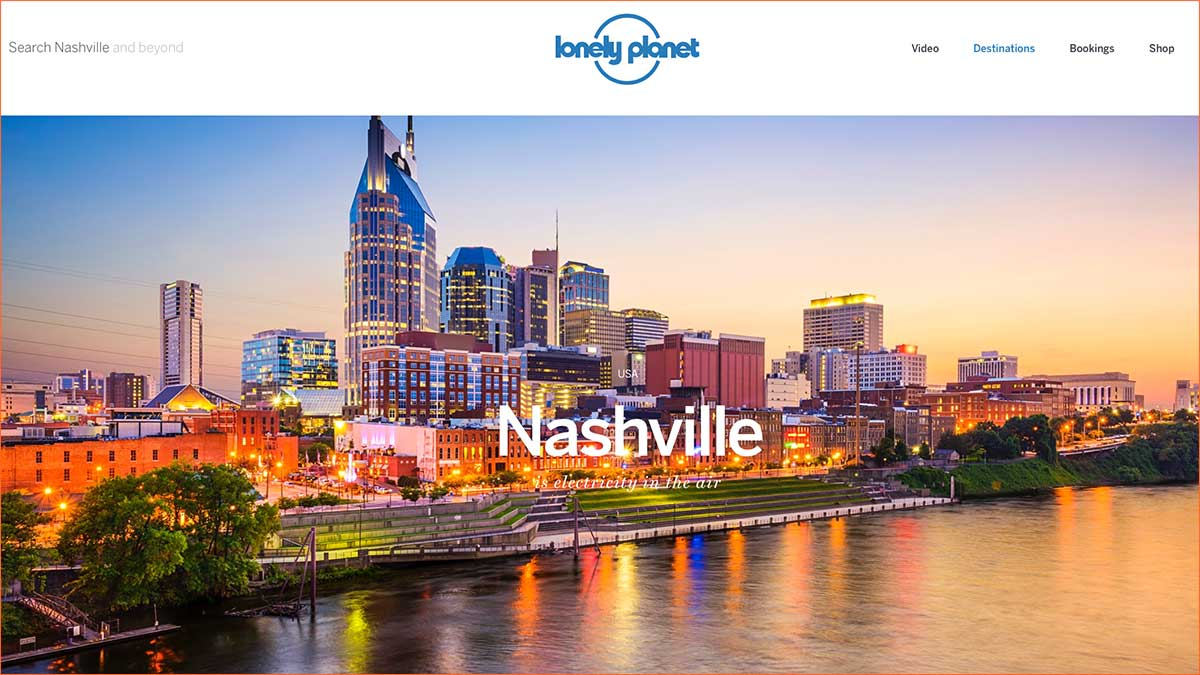 Screenshot of the Nashville page of the Lonely Planet website