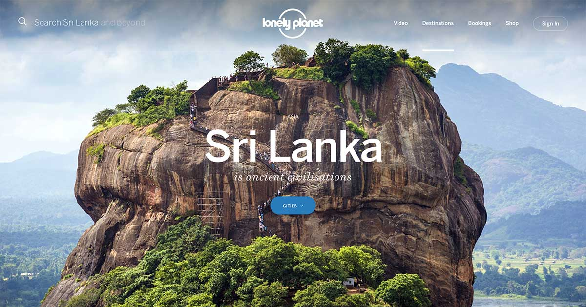 Screenshot of the Sri Lanka page of the Lonely Planet website