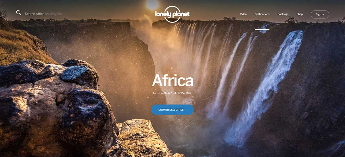 Screenshot of the Africa page of the Lonely Planet website
