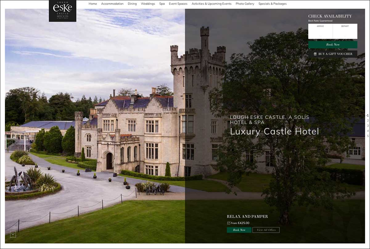 Screenshot of the Lough Eske Castle hotel and wedding venue Donegal Ireland website