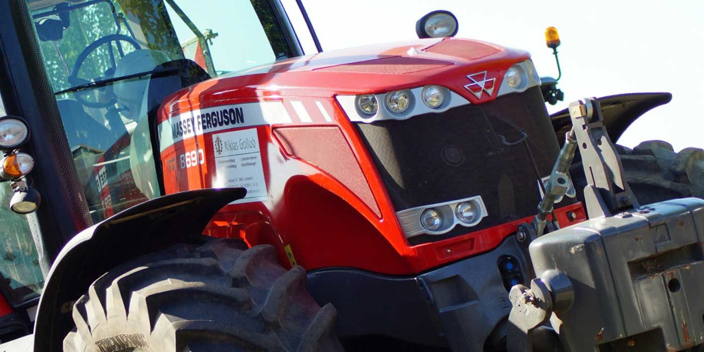 Close up photo of a Massey Ferguson tractor