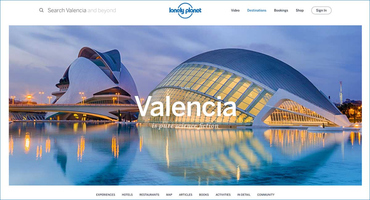 Screenshot of the Valencia page of the Lonely Planet website