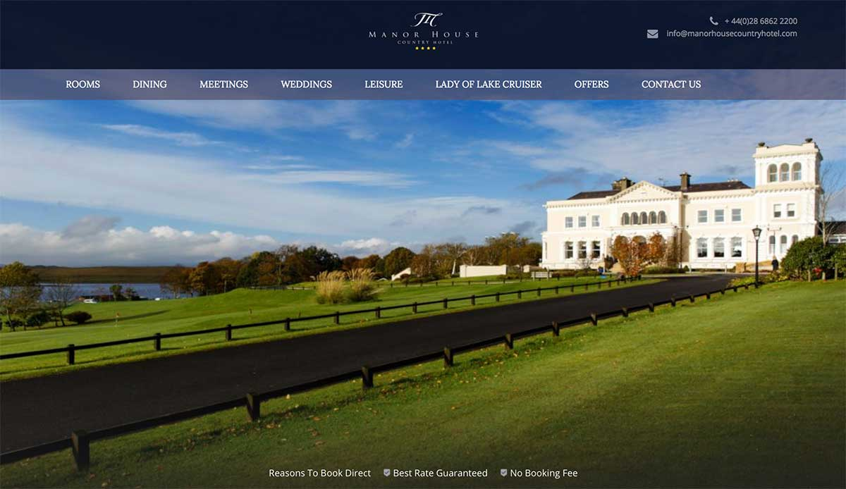 Screenshot of the Manor House Country Hotel and wedding venue Enniskillen County Fermanagh