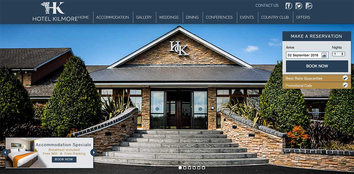 Screenshot of the Kilmore Hotel and wedding venue Cavan website