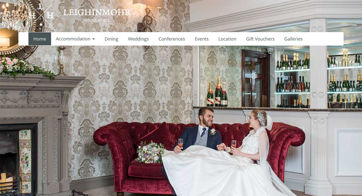 Screenshot of the Leighinmohr House Hotel and wedding venue Ballymena County Antrim website