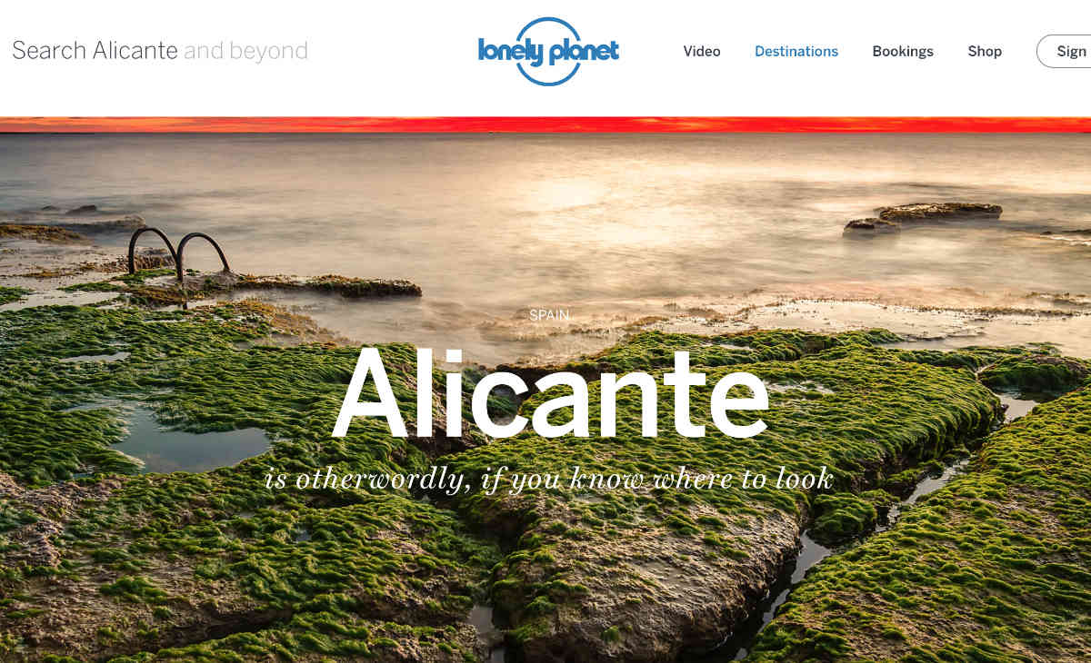 Screenshot of the Alicante page of the Lonely Planet website