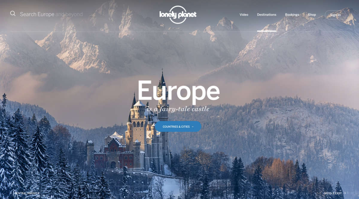Screenshot of the Europe page of the Lonely Planet website