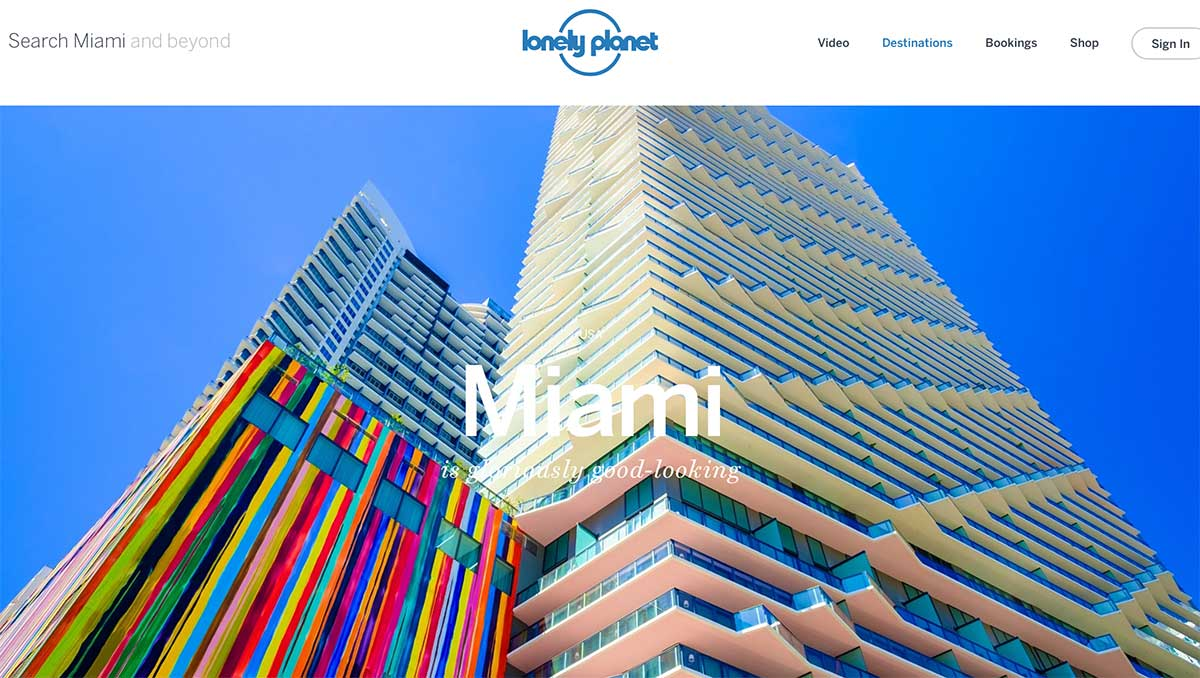 Screenshot of the Miami page of the Lonely Planet website