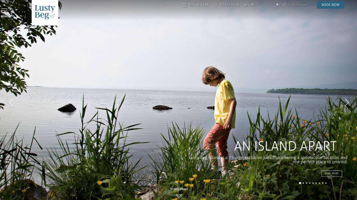 Screenshot of the Lusty Beg Island and wedding resort Kesh Fermanagh website