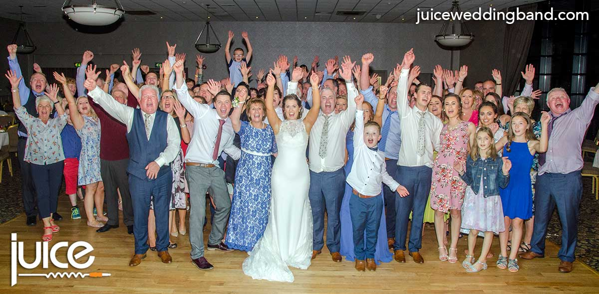 Photo of Zara, Ivor and their wedding guests