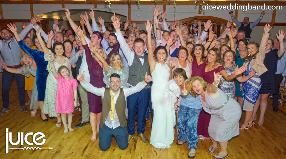 Photo of Eimear, Cathal and their wedding guests