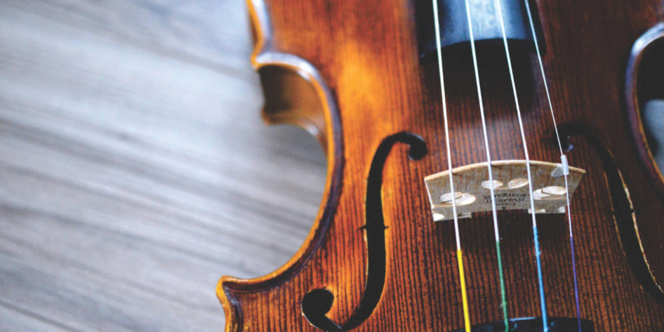 Close up photo of a fiddle