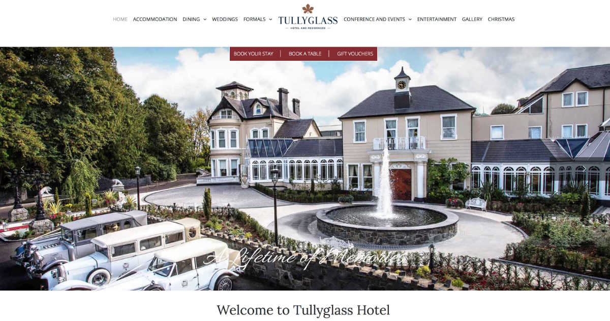 Screenshot of the Tullyglass Hotel and wedding venue Ballymena County Antrim