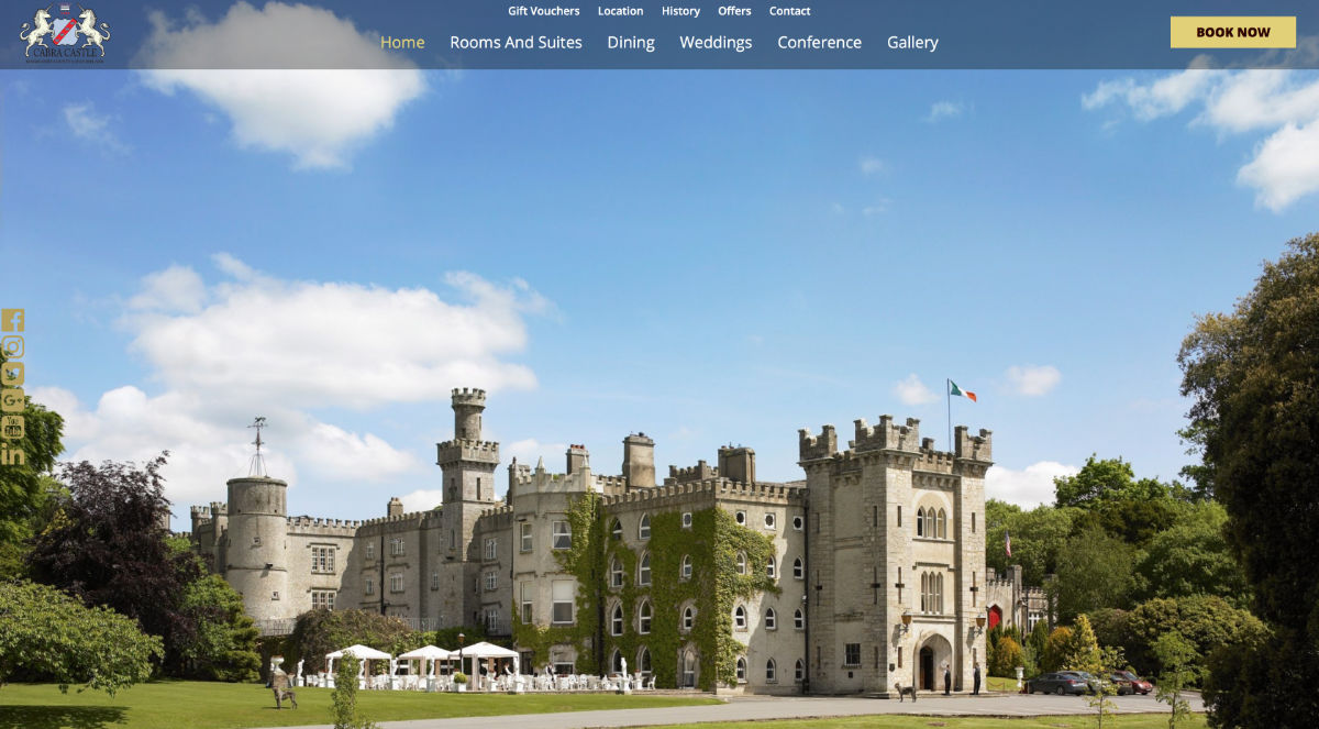 Screenshot of the Cabra Castle Hotel and wedding venue Cavan Ireland