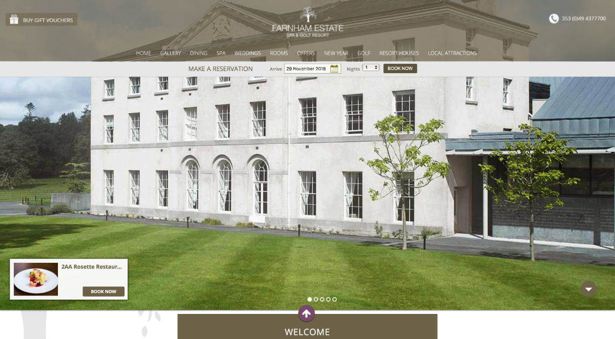 Screenshot of the Farnham Estate Spa, Golf Resort and wedding venue Cavan