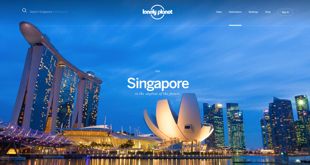 Screenshot of the Singapore Page of the Lonely Planet website
