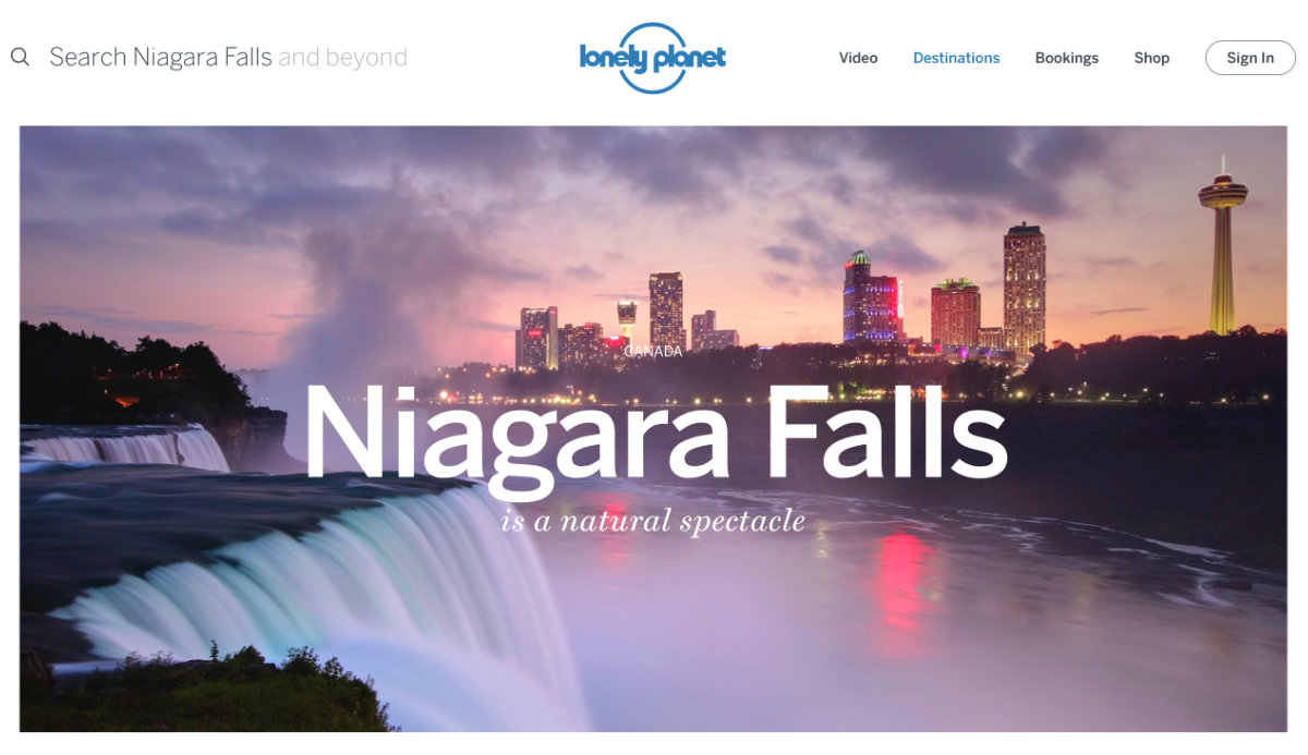 Screenshot of the Niagara Falls page of the Lonely Planet website