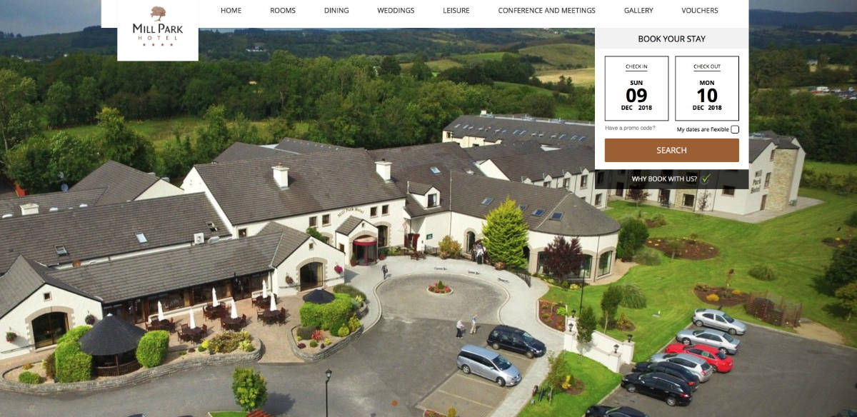 Screenshot of the Mill Park Hotel and wedding venue Donegal Ireland