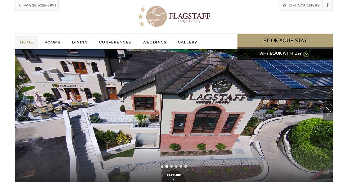 Screenshot of the Flagstaff Hotel Newry website