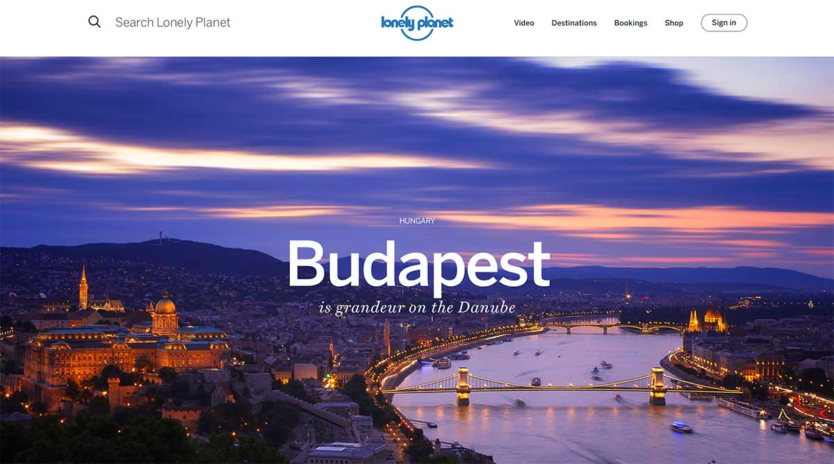 Screenshot of the Budapest page of the Lonely Planet website