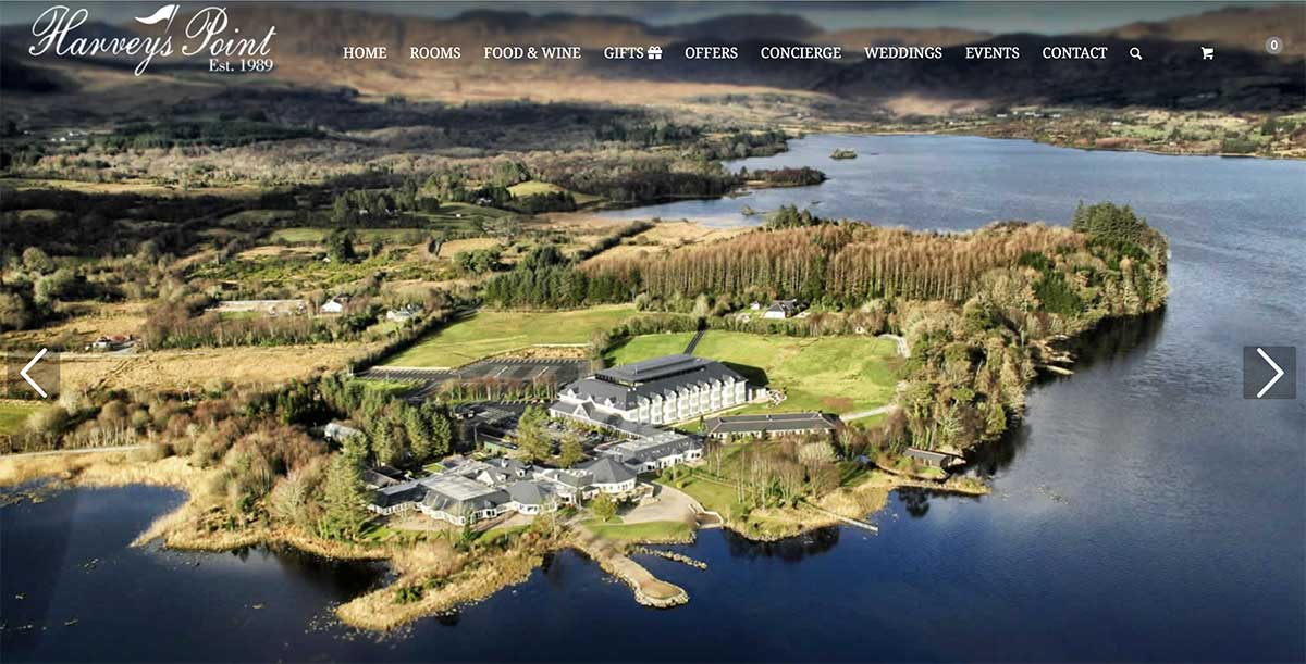 Screenshot of the Harvey's Point Hotel and wedding venue Donegal  website