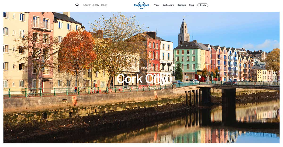 Screenshot of the Cork page of the Lonely Planet website