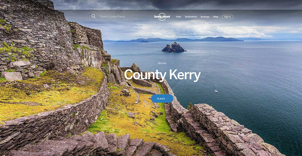 Screenshot of the County Kerry page of the Lonely Planet website