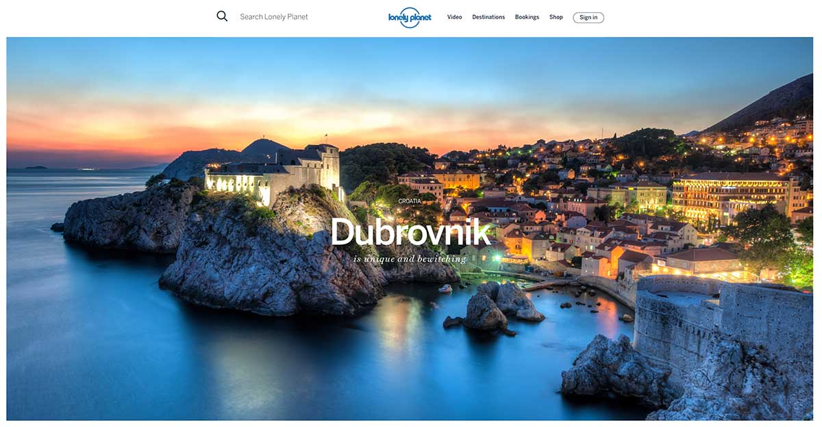 Screenshot of the Dubrovnik page of the Lonely Planet website