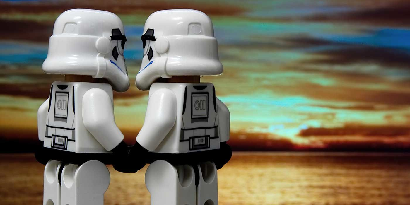 Photo of stormtroopers holding hands