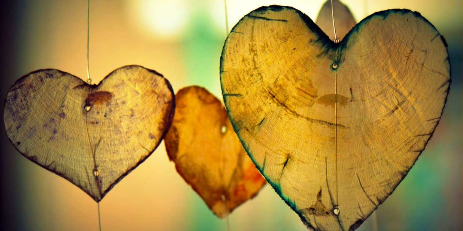 Photo of some wooden shaped hearts