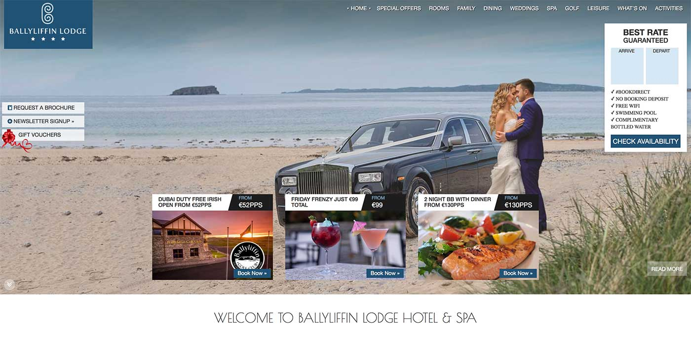 Screenshot of the Ballyliffin Lodge hotel and wedding venue Donegal