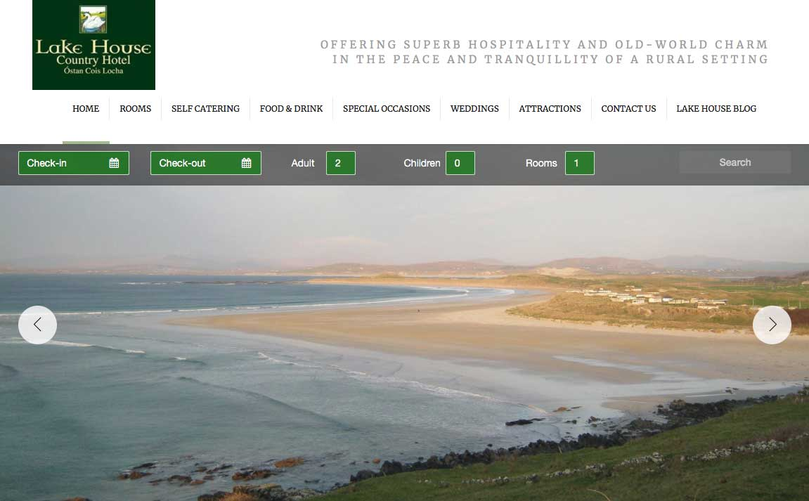 Screenshot of the Lake House Hotel and wedding venue Portnoo County Donegal website