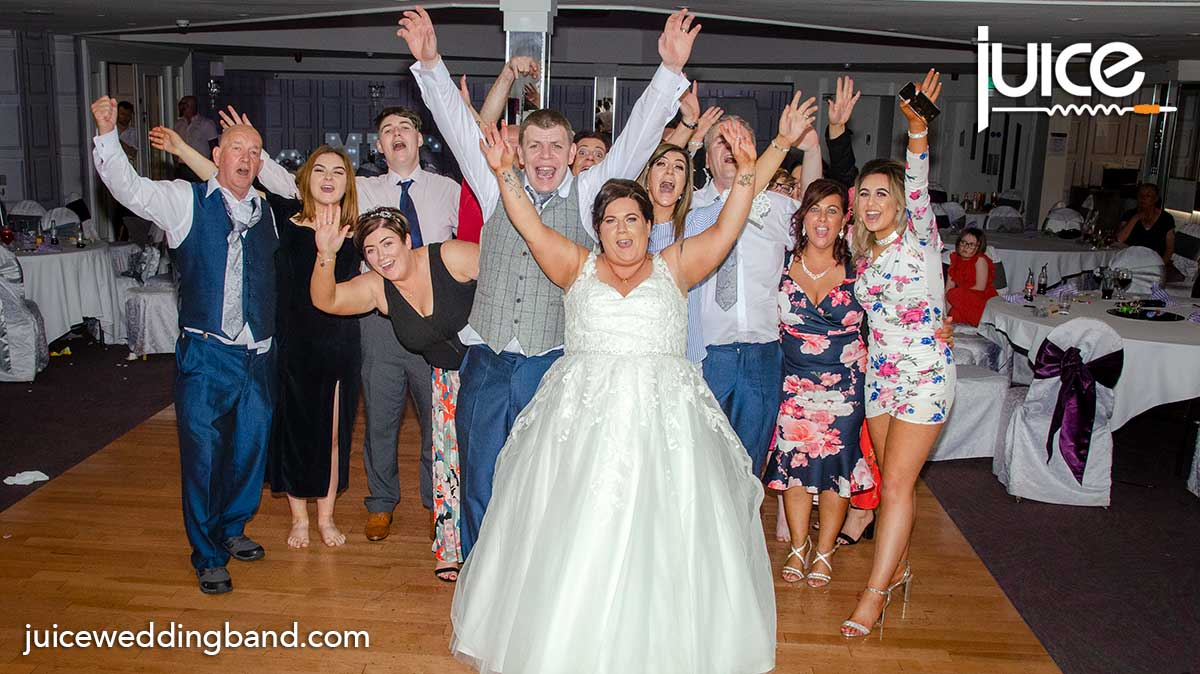 Photo of Lisa, Kieran and their wedding guests