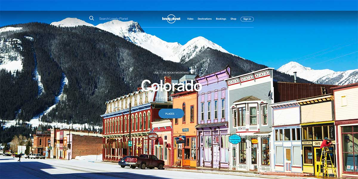 Screenshot of the Colorado page of the Lonely Planet website