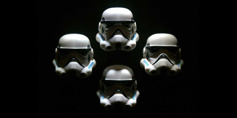 Photo of four Stormtroopers posed like Queen