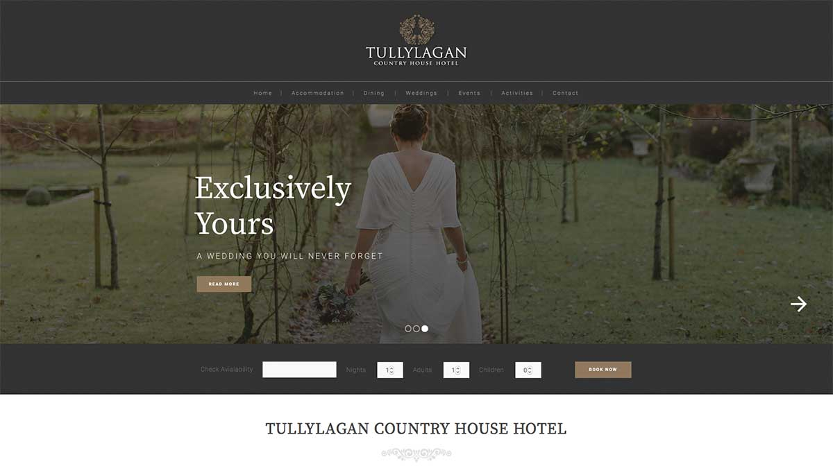 Screenshot of the Tullylagan House Hotel and wedding venue Cookstown County Tyrone website