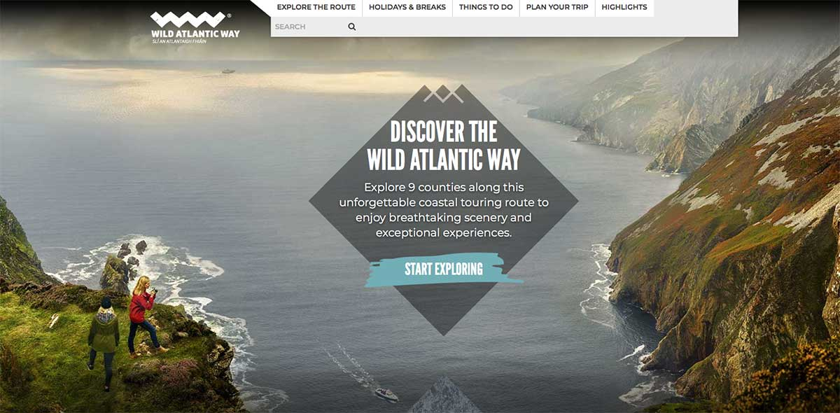 Screenshot of the Wild Atlantic Way website