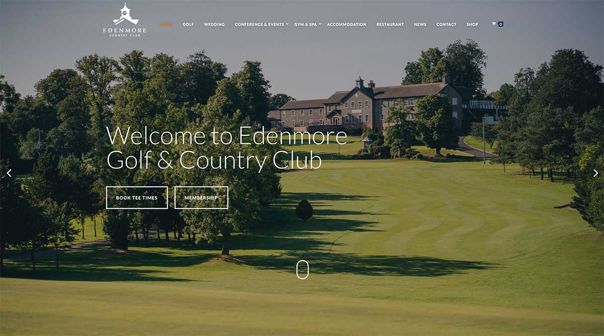 Screenshot of the Edenmore Golf club and wedding venue Magheraline County Down website