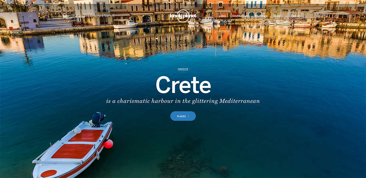 Screenshot of the Crete page of the Lonely Planet website