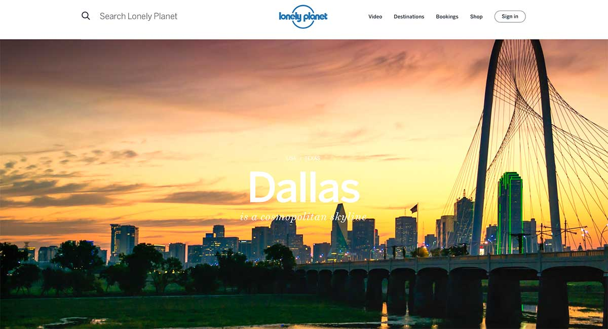 Screenshot of the Dallas page of the Lonely Planet website