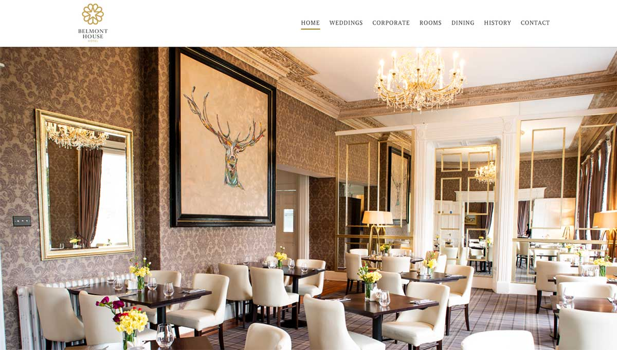 Screenshot of the Belmont Hotel and wedding venue Banbridge County Down Northern Ireland website