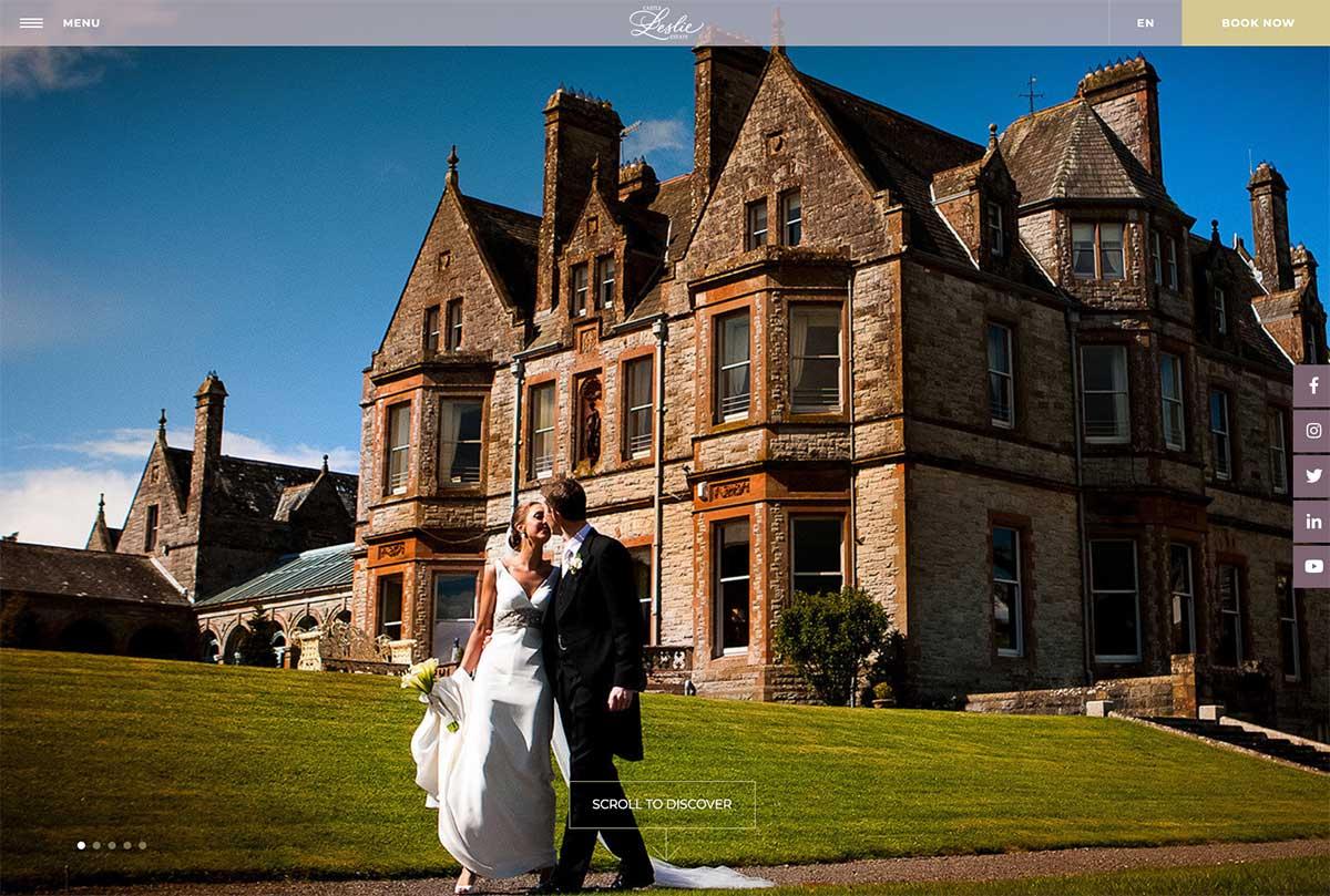 Screenshot of the Castle Leslie Estate and wedding venue Monaghan Ireland website