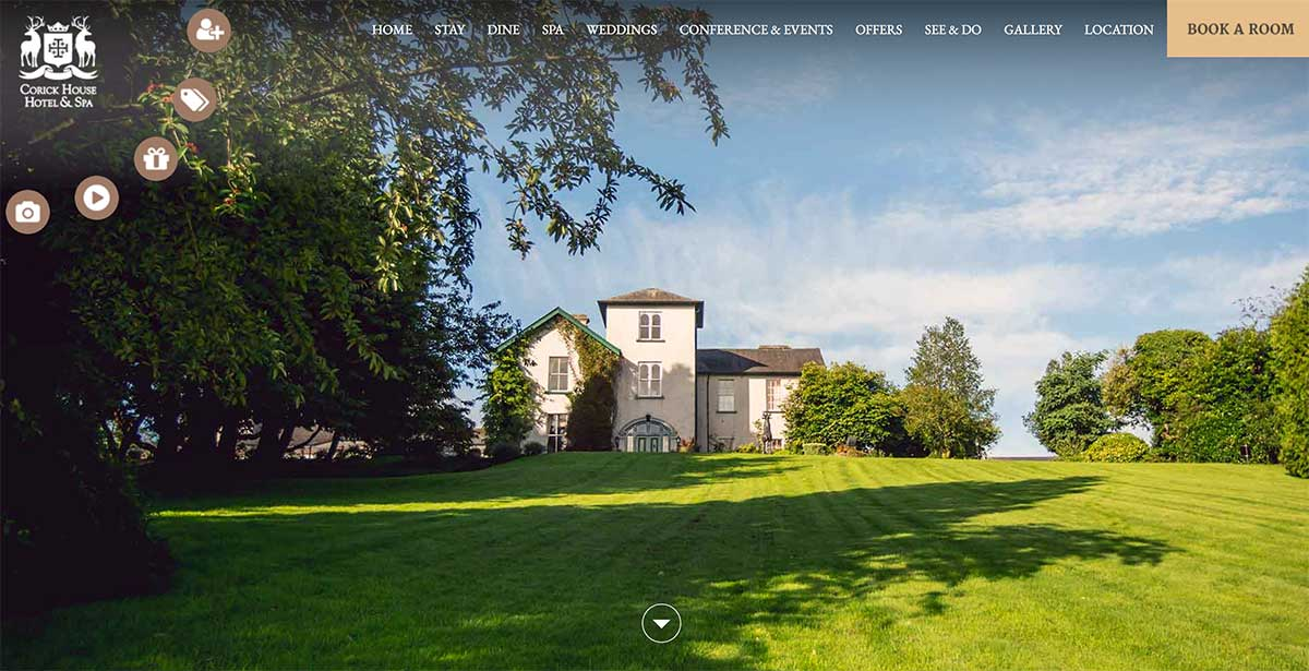 Screenshot of the Corick Country House Hotel and wedding venue Clogher County Tyrone