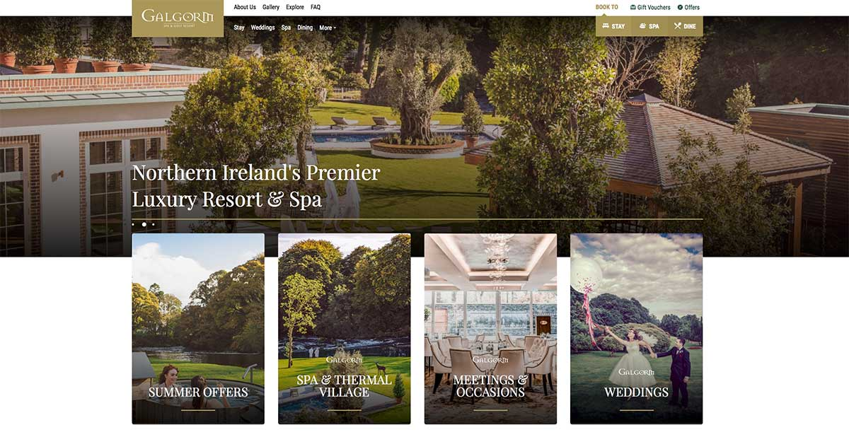 Screenshot of the Galgorm Resort and Spa and wedding venue Ballymena County Antrim website