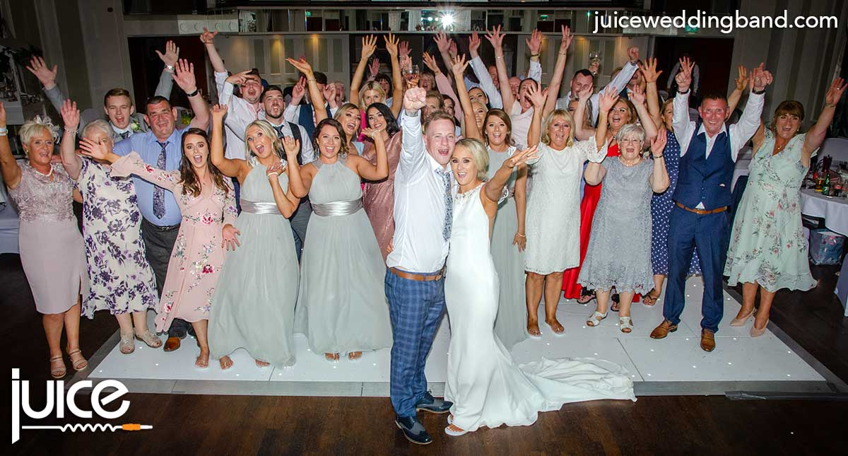 Photo of the Jenny, Stuart and their wedding guests