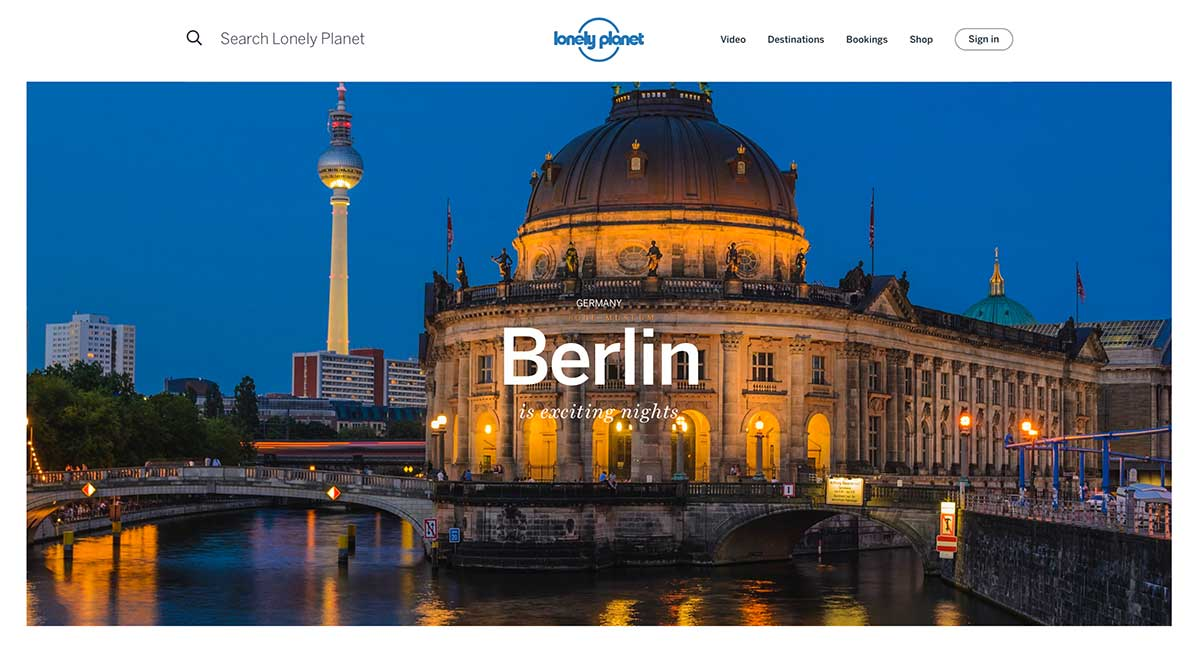 Screenshot of the Berlin page of the Lonely Planet  website