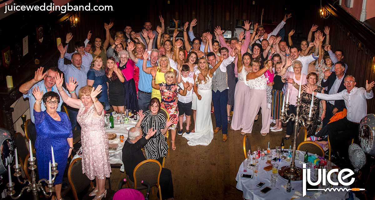 Photo of Sinead, Minty and their wedding guests in Parkanaur Manor House