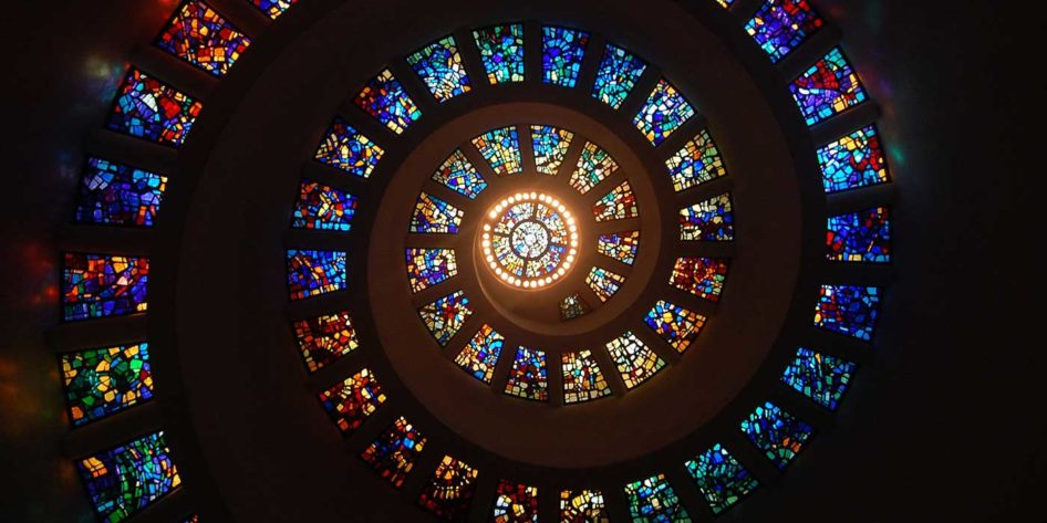 Photo of a stained glass spiral